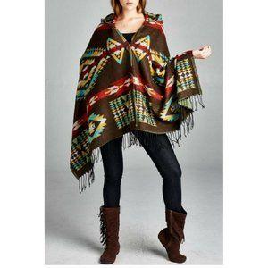 Boho Hooded Poncho With Fringe Aztec Southwestern